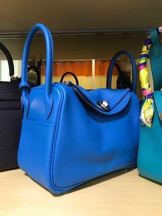 3efd14ca142e BNIB Hermes Lindy 26 Blue Zanzibar evercolor