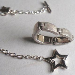 勿壓價,全新ESPRIT 925 SILVER 星星手鍊+介指套裝,