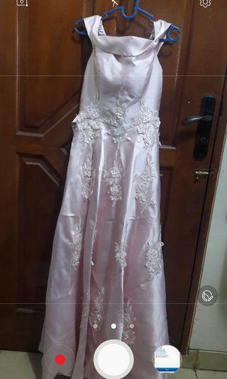 Jual long dress pink