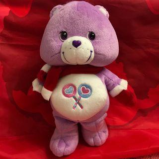 全新 聖誕版 care bear 紫色 公仔