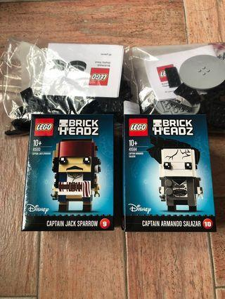 🚚 Lego brickheadz(with stand) captain jack sparrow 41593 and captain Armando 41594