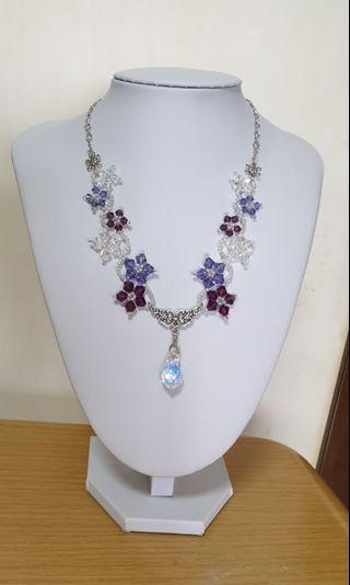 Swarovski necklace with sparkling AB clear pendant