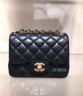 Chanel 19ss mini square 黑金羊皮 17cm mini classic 復古金扣 黑色