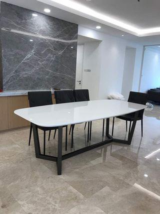 Crystal white natural marble top dining table