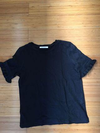 Zara black small top with ruffled sleeves