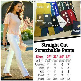 PLUS SIZE STRETCHABLE STRAIGHT CUT PANTS - instock limited