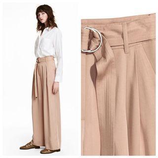 [原價1999 9成新 賣家實穿] H&M Conscious 系列 寬褲 闊腿褲 附腰帶 粉色 萊卡 US8 28腰