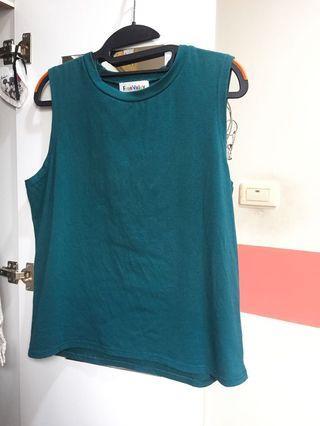無袖藍綠色背心✨