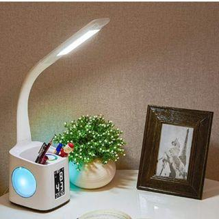 WANJIAONE LED DESK LAMP WITH USB CHARGING PORT FOR STUDY, DIMMABLE HUE TABLE LAMP WITH CLOCK, COLOR CHANGING BASE, TOUCH DIMMER, PEN HOLDER, THERMOMETER, CALENDAR, White. 10W, New