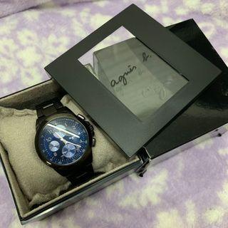 Agnes B 冰藍 黑鋼 手錶