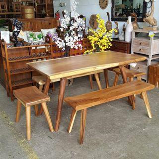 Solid Suar Wood Dining Table Set Suar Wood Full Set