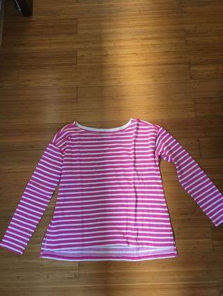 Uniqlo lounge wear stripes pink size M