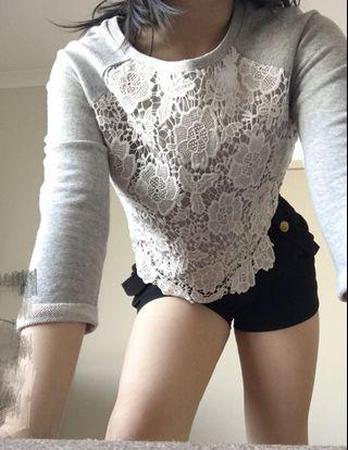 Lace crop top grey and white