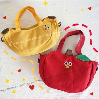 ☆Idalza☆ 現貨 INS 童趣 日韓 造型 可愛 軟妹 香蕉 蘋果 刺繡 帆布包 手提包 兒童 單肩包 斜背包