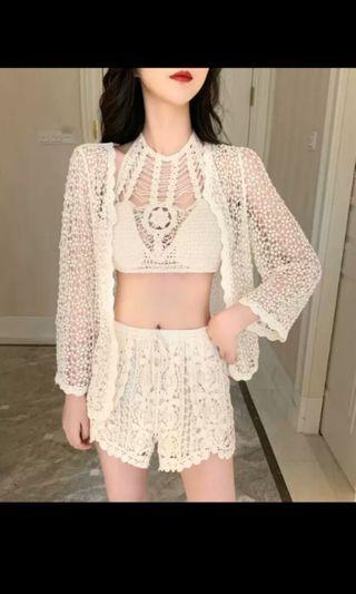 PO 46 Crochet Lace Pattern Bralettle Top with Short Pants Pant & Summer Jacket 3 Piece Set Ulzzang Beach Wear