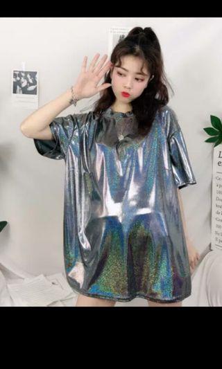 PO 47 Glittery Shiny Glitter Mesh Short Sleeve T-Shirt Holographic Colour Top Ulzzang 2 Colours grey / white