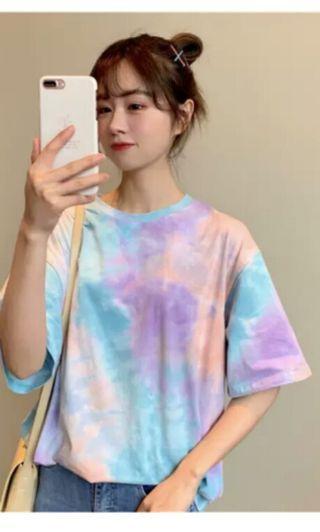 PO 49 Pastel Colour Tie Dye Colourful Short Sleeve T-Shirt Ulzzang 2 Colours Unisex Oversized purple-blue/green-blue