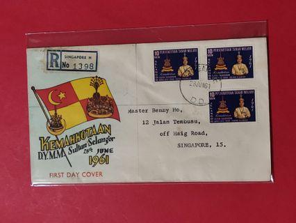 Selangor 1961 First Day Cover (Singapore Postmark)