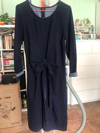 深寶藍色棉質長裙
