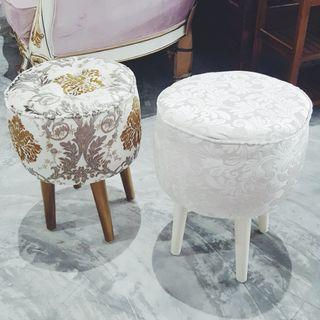 🚚 Gold Stool in Fabric Dresser Stool