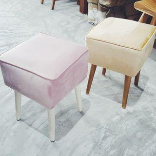🚚 White Gold Stool Fabric Dresser Stool