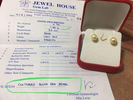 South sea pearl with 925 setting stud earring