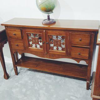 🚚 Wooden Console Table 2 door 4 drawer Carving Teak Wood