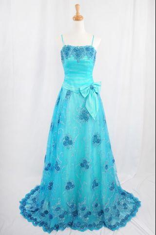 萊克二手禮服  土耳其藍平口馬甲搭配寶藍色繡花小澎裙款晚禮服
