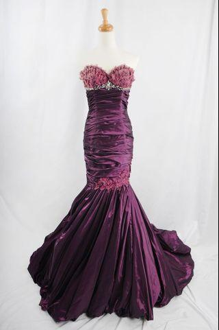 萊克二手禮服  深紫色立體蕾絲桃心領利折緞料魚尾裙晚禮服