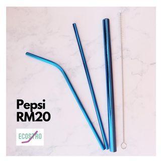 Metal straw (electric blue)
