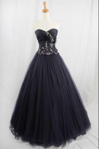 萊克二手禮服  深紫色馬甲立摺上身搭配素紗澎裙晚禮服