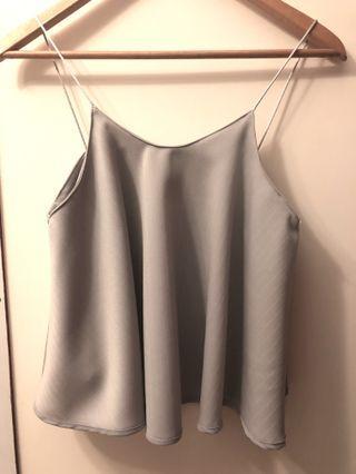Dusty Grey Textured Swing Crop Top