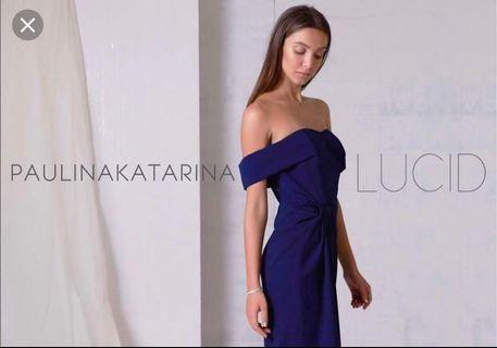$300 Paulina Katarina Paloma off-shoulder navy gown (uk8)