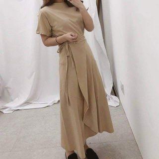 韓國製兩件式綁帶素面洋裝