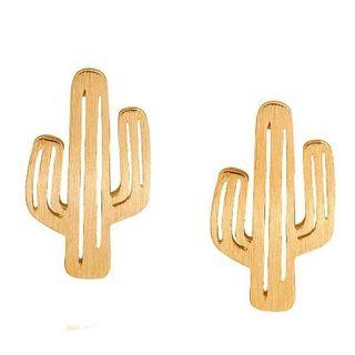 🚚 Cactus Stud Earrings in Gold