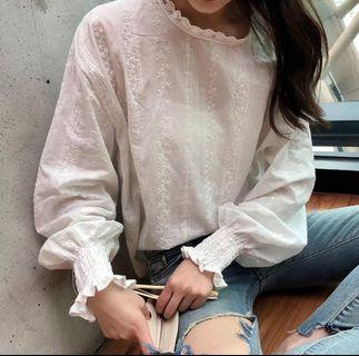 Korean lace embroidery floral blouse : korea style brand new women fashiom 2019 ulzzang hollow lace embroidered flower floral crotchet mock high neck round collar long sleeve bubble lantern puff frill ribbed cuff flutter loose princess doll shirt top