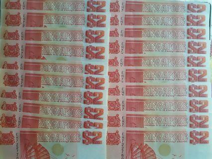 🚚 Ship Series$2 notes 20 piece  run eh/722751/722770 1picec$2.6