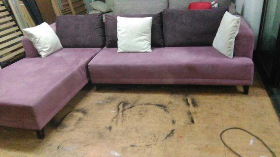 九尺L型布沙發