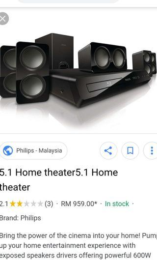 PHILIPS 5.1 Home theater with HD 3D BLUE RAY