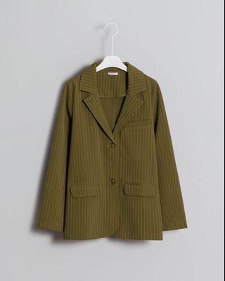 全新Meier.q直條紋雙釦西裝外套 橄欖綠S