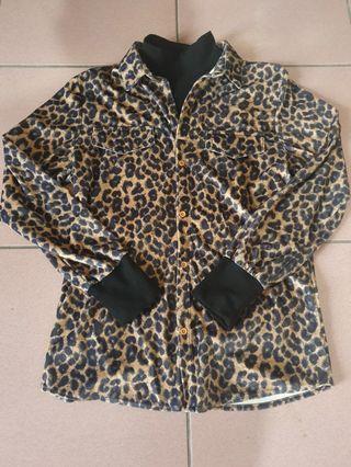 🚚 全新假二件式襯衫豹紋
