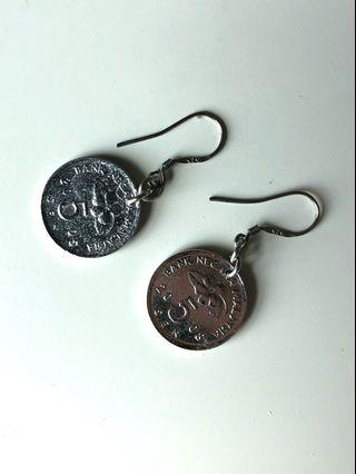 Real Coin earrings with Silver (Handmade)
