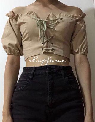 iamgia alya off-shoulder corset top (tan)