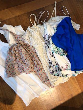 Bundle tops sale! Floral stripes crochet crop