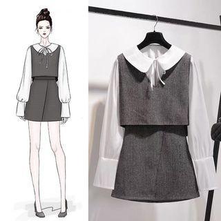 韓版氣質OL三件事套裝長袖襯衫背心短裙
