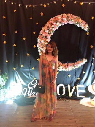 Long Maxi Flora Evening Dress