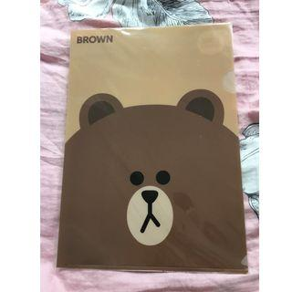 Line friends brown A4 file 熊大 cony sally moon