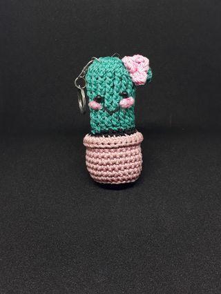 Gantungan kunci kaktus rajut 100% homemade