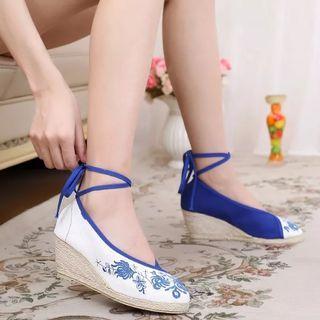 全新青花瓷繡花鞋漢服鞋古裝布鞋女神鞋涼鞋高跟鞋