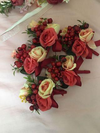 長老紅色襟花x5